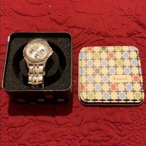 Fossil watch Blue silver metal band